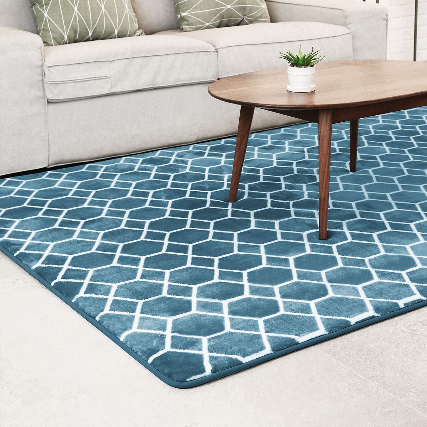 Shoesfree Barefoot Area Rugs 5'x 8' Large Area Rug Shag Rectangle Rug Turquoise Teal Area Rug Carpet