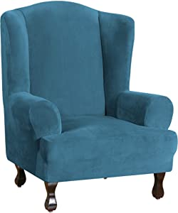 Wing Chair Slipcover Velvet Slipcovers for Wingback Chairs Ultra Soft Plush Sofa Covers 1-Piece Furniture Cover/Wingback Chair Cover with Elastic Bottom, Machine Washable, Peacock Blue