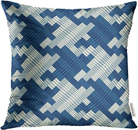 Upoos Throw Pillow Cover Navy Plaid Ornate Striped Houndstooth Blue Woven Graphic Decorative Pillow Case Home Decor Square 16x16 Inches Pillowcase Home Kitchen