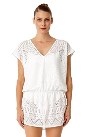 46c0faf42f Anne Cole Women s Crochet All Day Tunnel Tie V Neck Tunic Swim Cover Up-XS