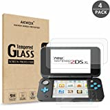 AKWOX (4-Pack) Nintendo 2DS XL Screen Protector, Tempered Glass Top LCD Screen Protector + HD Clear Crystal Buttom LCD Screen Protective Filter for New Nintendo 2DS XL [2 Glass Top, 2 PET Bottom]