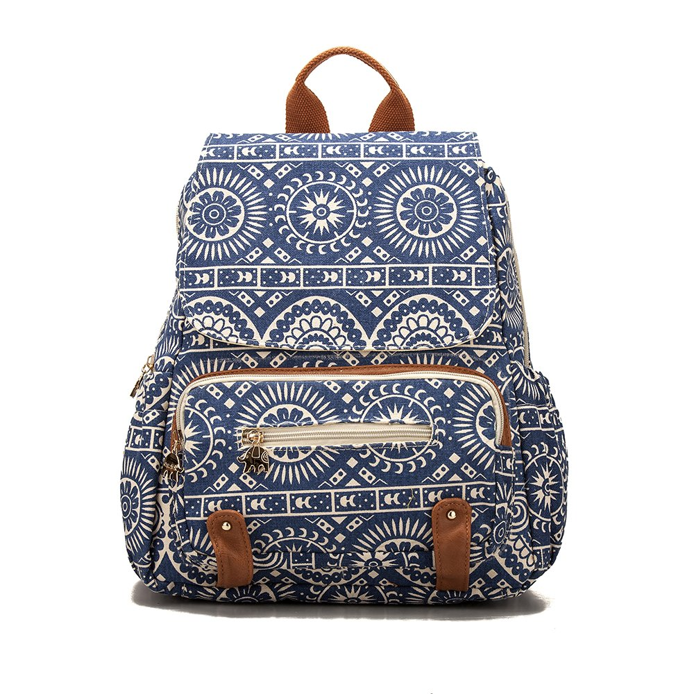 Backpack For Girls Fashion Backpack Ladies Rucksack Shoulder Bag by Ms.Camellia (Blue and White)