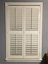 Interior shutter kit 2 1 4 louver plantation style paint finish white 23 25 w x - Plantation shutters kits ...