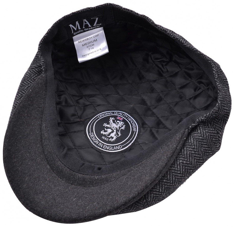 8437116e MAZ Mens 2 Tone Baker Boy Cap Peaked newsboy Hat Peaky Blinders Hat Flat Cap  Grey (61 cm): Amazon.co.uk: Clothing