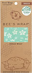 Bee's Wrap Reusable Bread Wrap, Eco Friendly Reusable Beeswax Food Wrap, Sustainable, Zero Waste, Plastic Free Bread Keeper & Food Storage (Floral Teal)