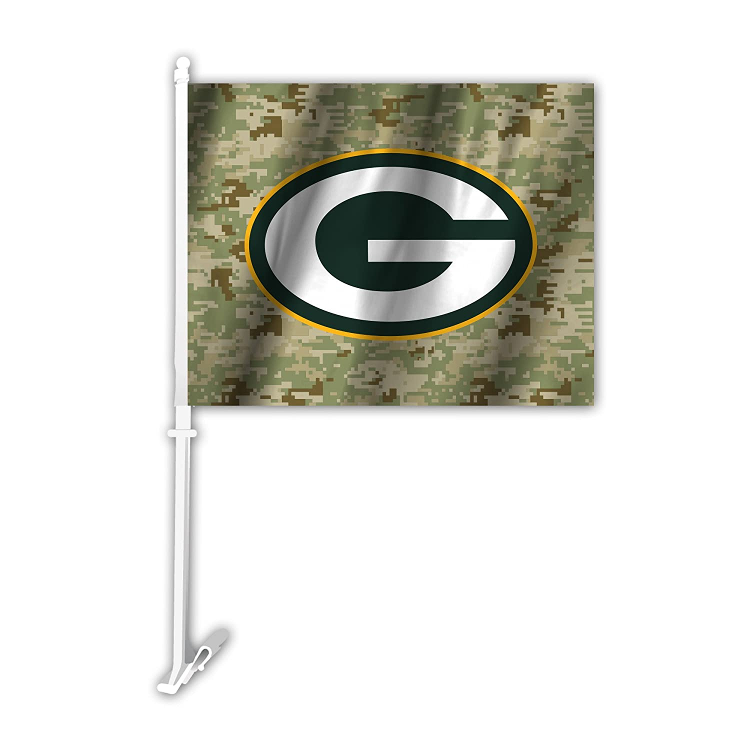 Green One Size NFL Green Bay Packers Camo Car Flag