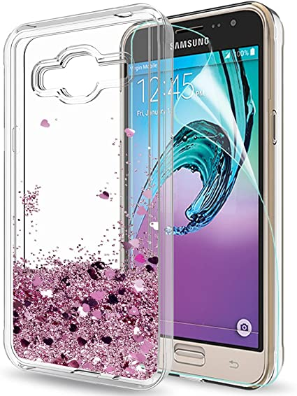 LeYi Coque Galaxy J3 2016 Etui avec Film de Protection écran, Fille Personnalisé Liquide Paillette Flottant Transparente 3D Silicone Gel TPU Antichoc ...