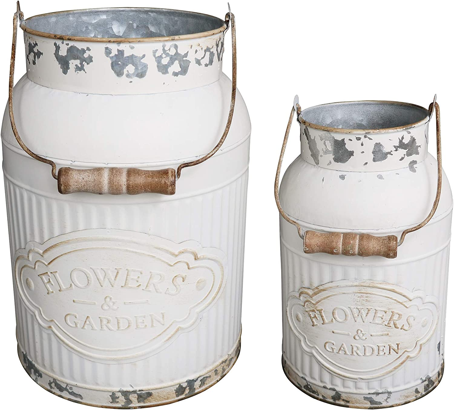 HyFanStr French Style White Milk Can Shabby Chic Metal Vase Flowers Bucket Rustic Pitcher Jug for Home Garden Decor (Small & Large)