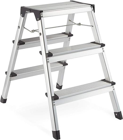 VonHaus Escalera De 3 Escalones De Doble Cara - Construcción De Aluminio Fuerte Y Ligero - Patas Antideslizantes - Diseño Plegable Fácil De Guardar - Ideal Para El Hogar/Cocina/Garaje: Amazon.es: Bricolaje y herramientas