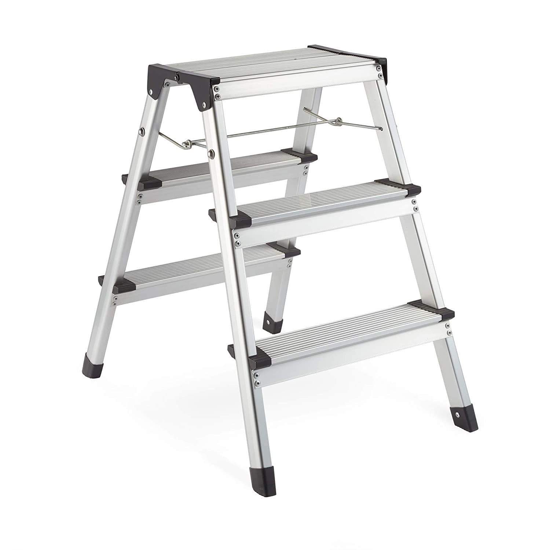 VonHaus 3 Step Steel Ladder – Anti Slip Feet – Easy to Store Foldable Design – Ideal for Home/Kitchen/Garage 150KG Max Capacity