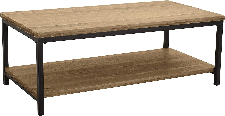 """Ravenna Home Justin Industrial Shelf Storage Coffee Table, 43.3""""W, Pine Veneer and Black Metal"""
