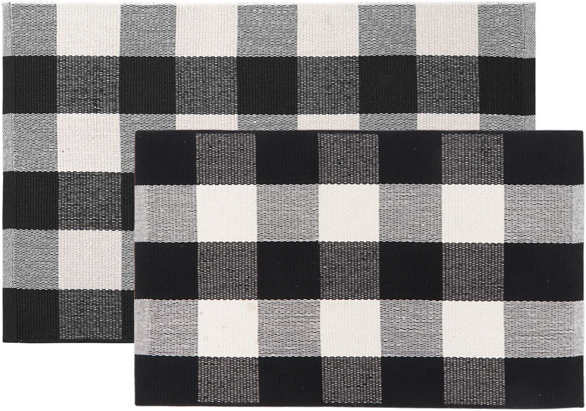 Seavish Cotton Buffalo Checkered Rug,2 Piece Set Black and White Plaid Rug Moven Throw Doormat Includes 1.5 x 2.3 2 x 3 , Machine Washable Carpet Welcome Mat for Kitchen Entry Way Laundry