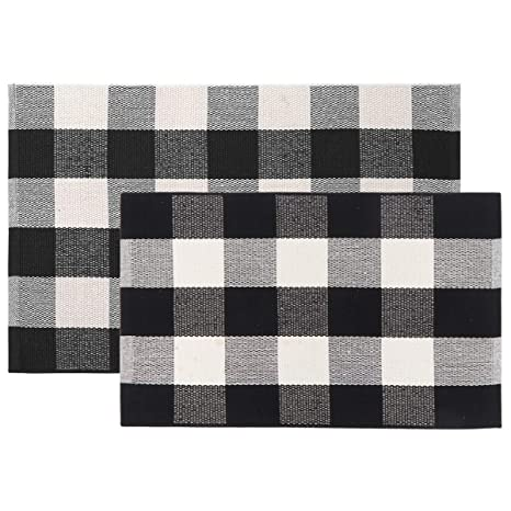 Home Decor Black White Cotton Rug Checkered Doormat Plaid