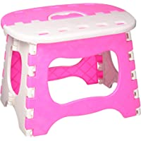 LOAZRE Thick Plastic Folding Step Stool, Bath Stool, Ottoman, Conpliant with Family, Travel, Fishing, Bathroom, etc.Pink/Blue, Random Color