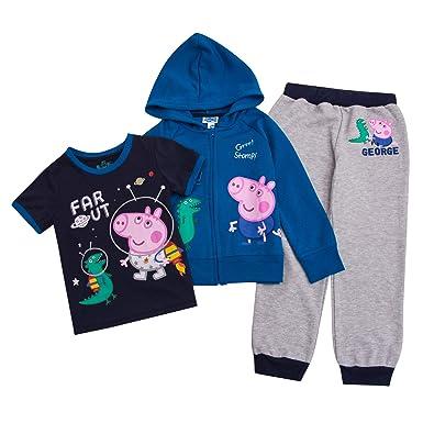 ce0a5c937452b Peppa Pig Toddler Boys Set George Hoodie, T-Shirt & Sweatpants Set  (Multicolored