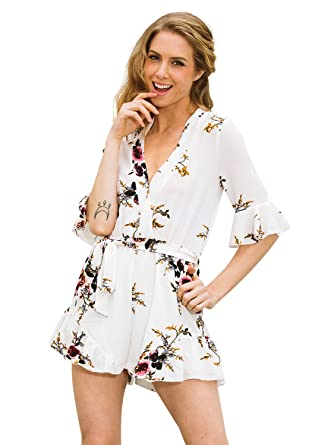 2efa967cad Simplee Apparel Women s V Neck Chiffon Floral Flower Print Playsuit Romper  Short Jumpsuit White  Amazon.co.uk  Clothing