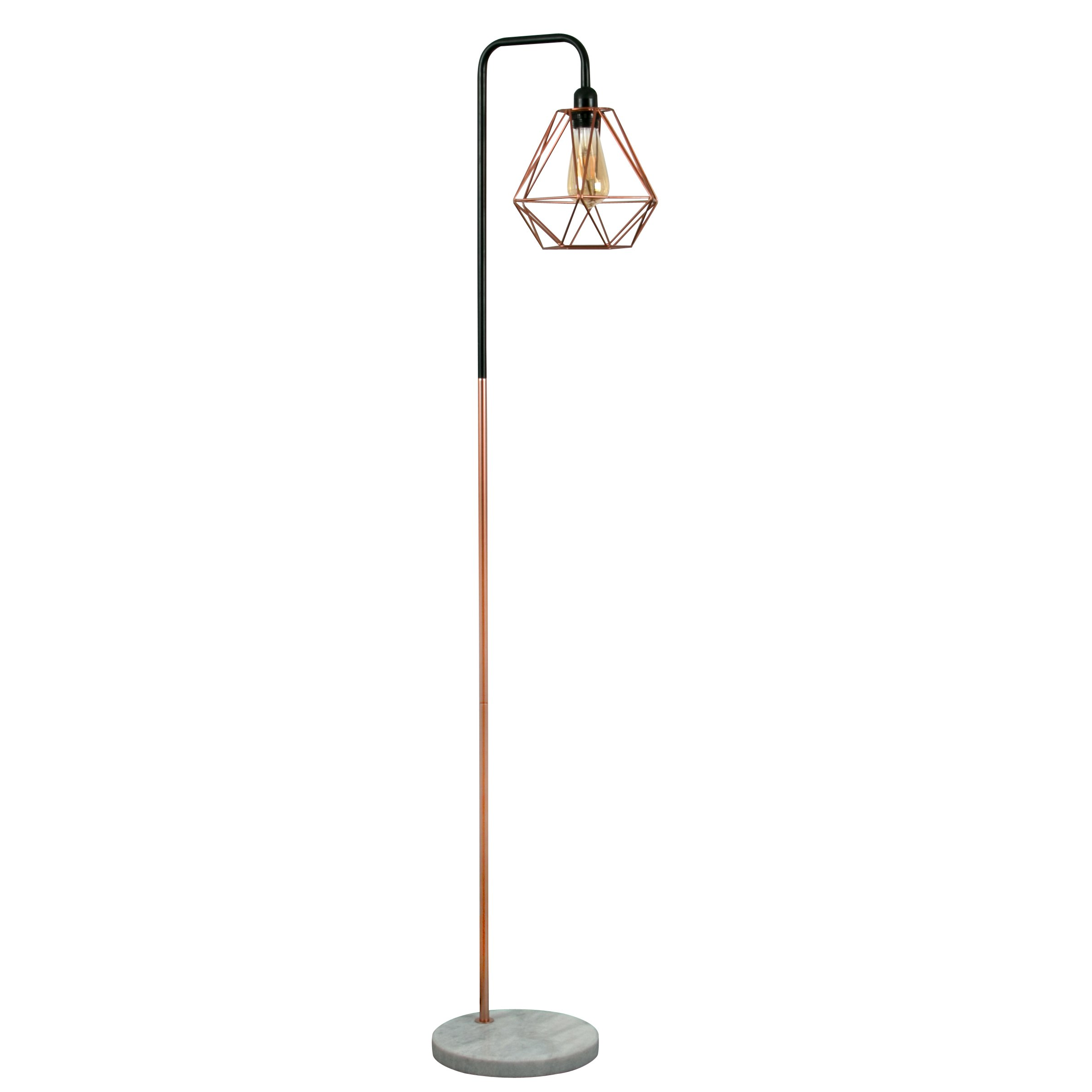 Copper floor lamps amazon retro style black copper metal white marble base floor lamp complete with a aloadofball Choice Image