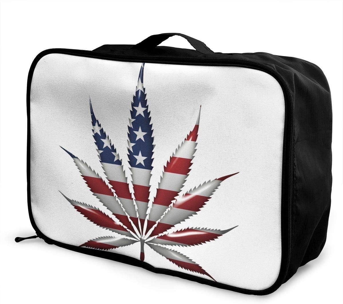 YueLJB Marijuana Leaf American Flag Lightweight Large Capacity Portable Luggage Bag Travel Duffel Bag Storage Carry Luggage Duffle Tote Bag