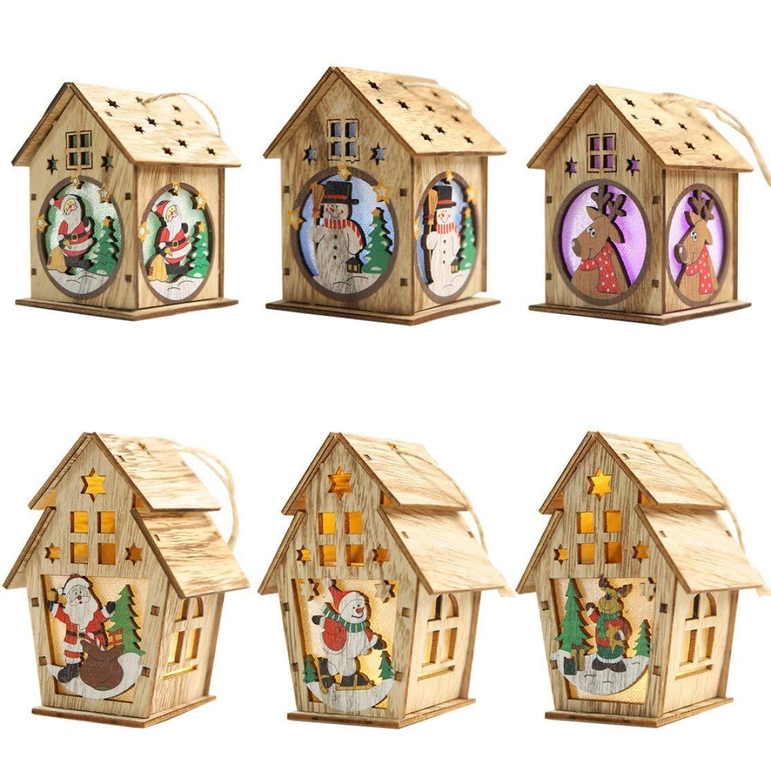 Candybarbar Decorazioni Natalizie in Legno Nuove luci Cabina con luci Pendente Albero di Natale Ornamenti Fai da Te Piccola casa