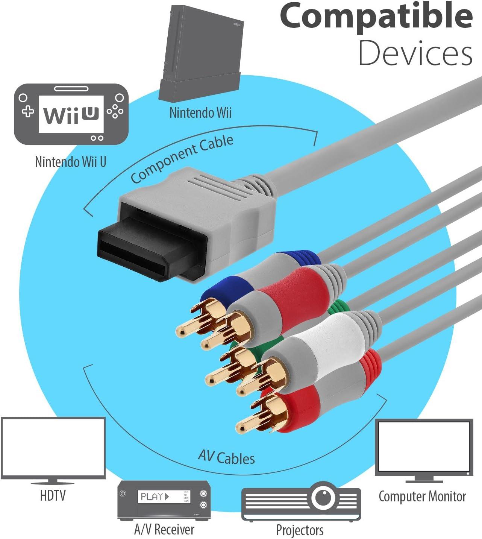 Fosmon Nintendo Wii/Wii U Reemplazo de componentes de Salida de Alta definición AV Cable Cable de HDTV/EDTV (480p de Alta definición) para Nintendo Wii & Wii U - 1.8M: Amazon.es: Videojuegos