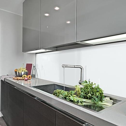 KERABAD Küchenrückwand Küchenspiegel Wandverkleidung Fliesenverkleidung  Fliesenspiegel aus Aluverbund Küche Weiß Glanz/matt 60x300cm