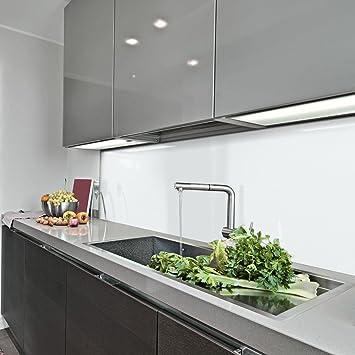 KeraBad Küchenrückwand Küchenspiegel Wandverkleidung Fliesenverkleidung  Fliesenspiegel aus Aluverbund Küche Weiß glanz/matt 30x100cm