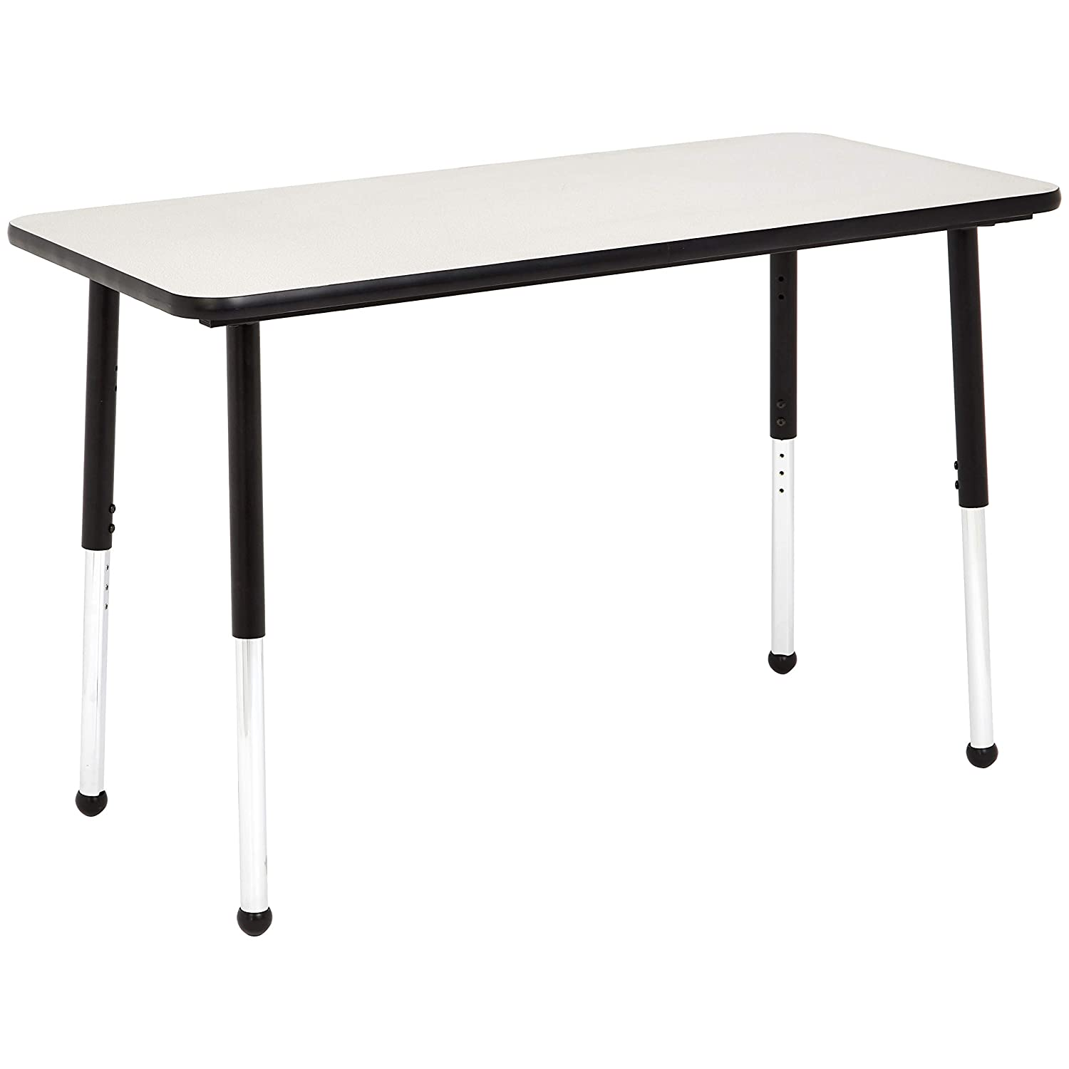 AmazonBasics 24 x 48 Inch Rectangular School Activity Kids Table, Ball Glide Legs, Adjustable Height 19-30 Inch, Grey and Black