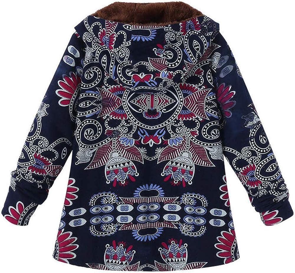 Amiley Women Vintage Winter Warm Zipper Coat Plus Size Printed Long Sleeve Hooded Jacket Outwear Pockets