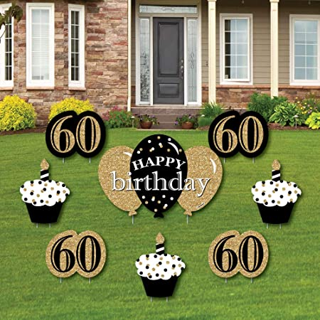 Amazon.com: Adulto 60 cumpleaños – oro – cartel de patio y ...