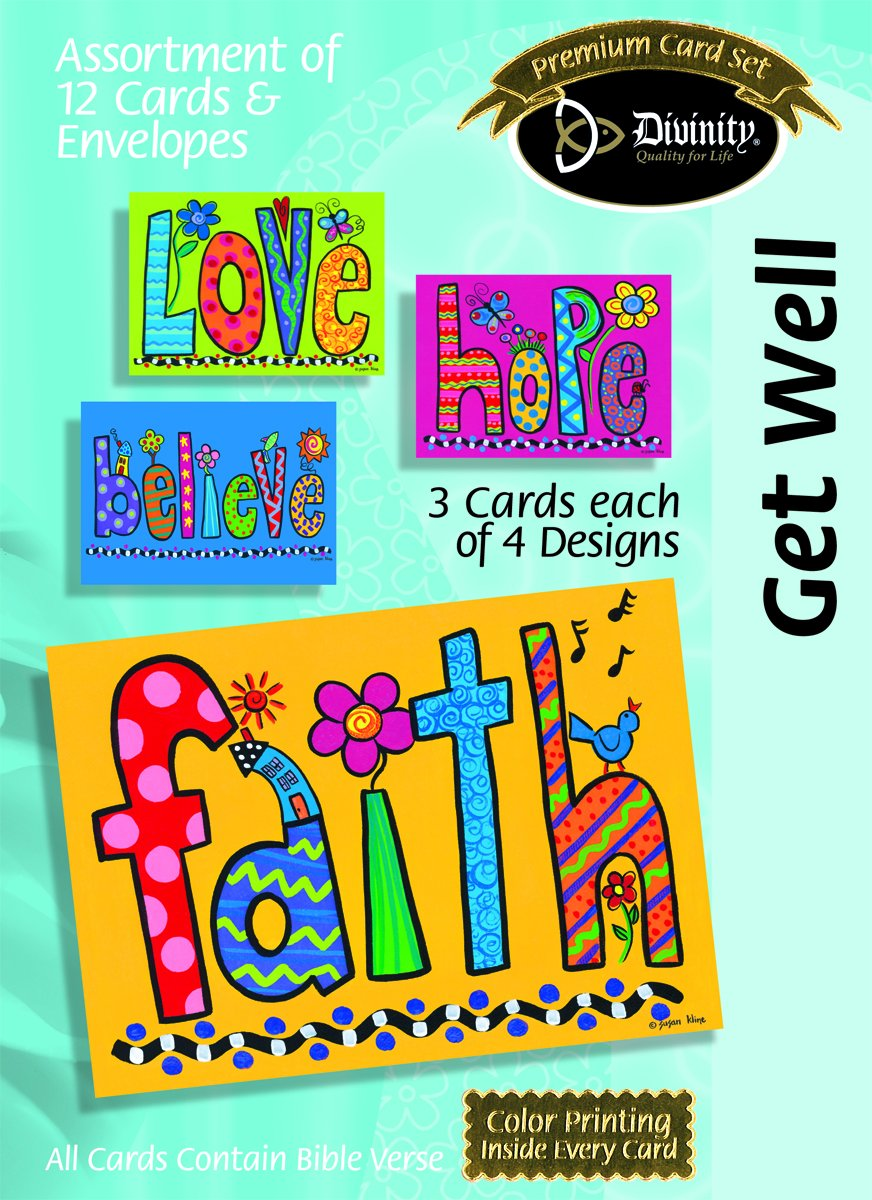 Divinidad Boutique tarjeta flores de felicitación surtido: Get Well, grandes flores tarjeta palabra con las Escrituras (21703 N) 97a687