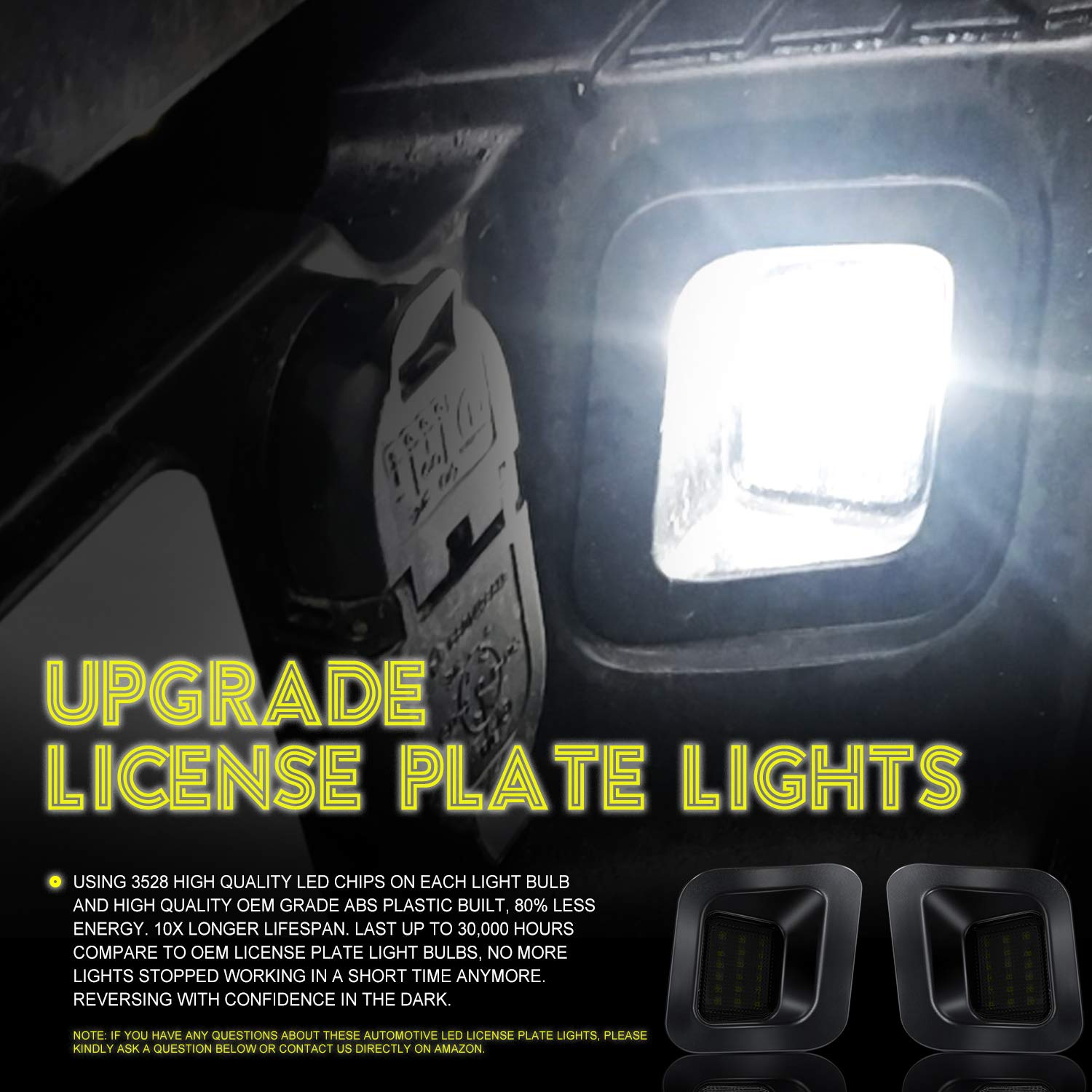 6500K, 2 Pack CAR ROVER Full LED License Plate Light Lamp Assembly Replacement for Ford F-150 F-250 F-350 F-450 F-550 Superduty Ranger Pickup Truck Explorer Bronco Excursion Expedition