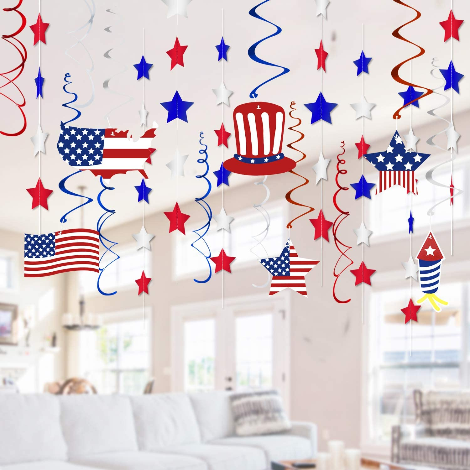 12th of July Decorations, Fourth of July Patriotic Party Decorations  Supplies, Pack of 12  Included 12PCs Foil Red White and Blue Star Garland,  12PCs