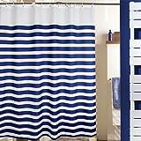 MangGou Streifen Stoff Duschvorhang, Wasserdicht Polyester Badvorhang, Maritime Deko Vorhang für die Dusche Liner mit 12Haken, Anti-Schimmel Maschinenwaschbar, Marineblau und Weiß, 180x 180cm