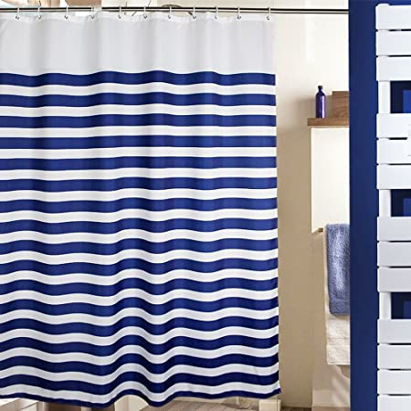 MangGou Stripes Fabric Shower Curtain,Waterproof Polyester Bathroom Curtain,Nautical  Decorative Shower Curtain Liner
