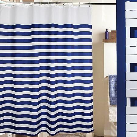 MangGou Stripes Fabric Shower Curtain,Waterproof Polyester Bathroom Curtain,Nautical  Decorative Shower Curtain Liner