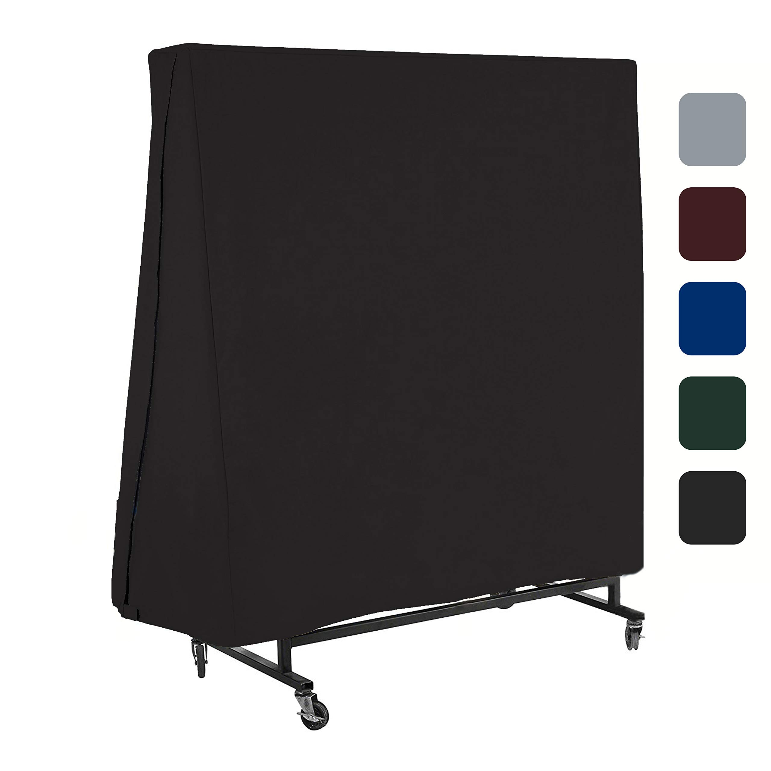 COVERS & ALL Ping Pong Table Cover for Indoor/Outdoor - Waterproof & UV Resistant Table Tennis Cover 12 Oz PVC Heavy Duty Fabric with Air Pockets & Drawstring for Snug Fit (Black)