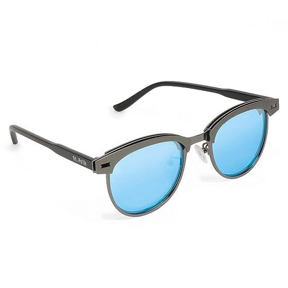 St. Polk Gafas de sol de Hombre/Mujer Polarizadas unisex efecto espejo lentes redondas ligeras muy resistentes