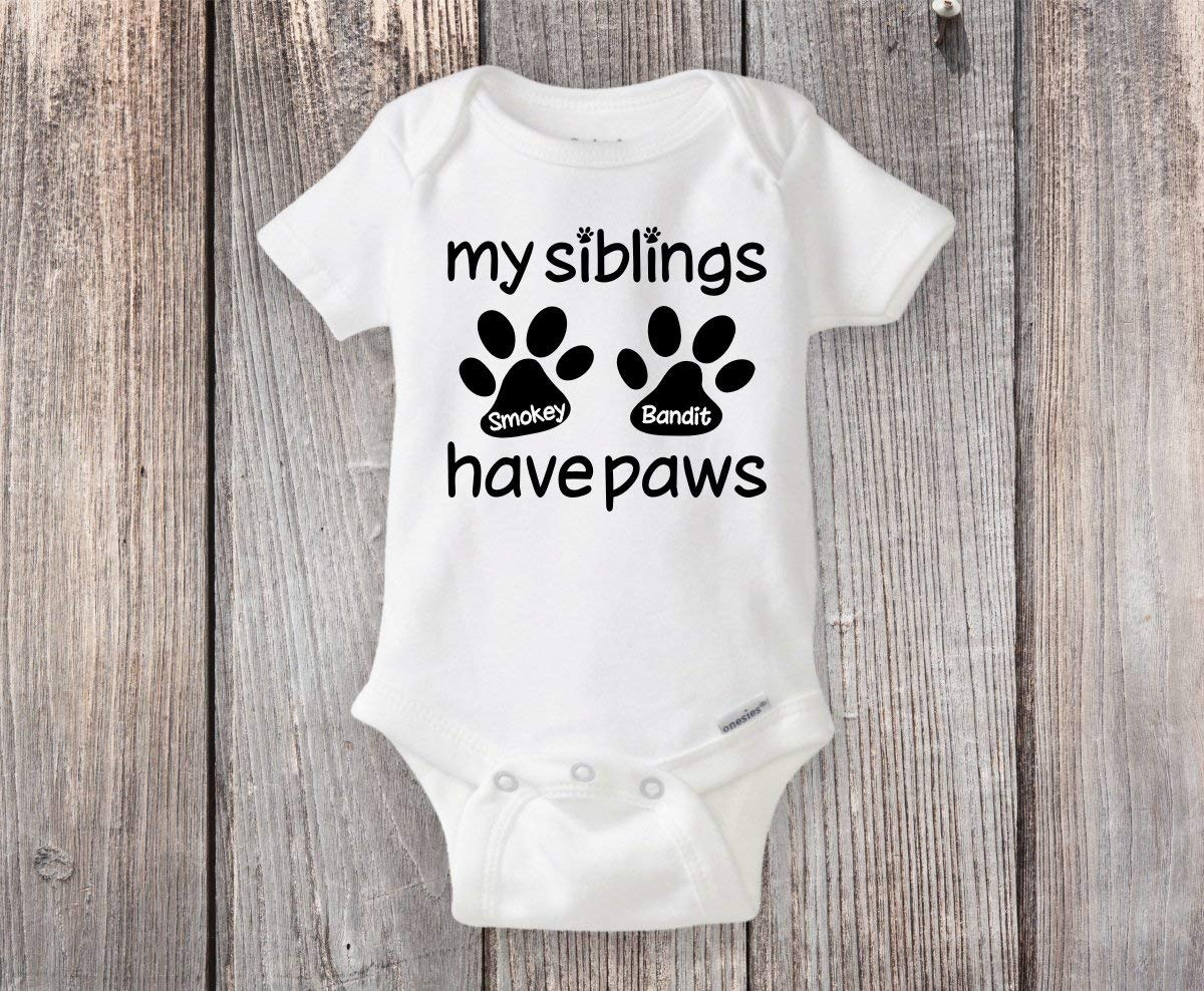Personalized Paw Print Onesie® My Siblings Have Paws - Funny Dog or Cat Sister or Brother - Makes a Great Baby Shower Gift!
