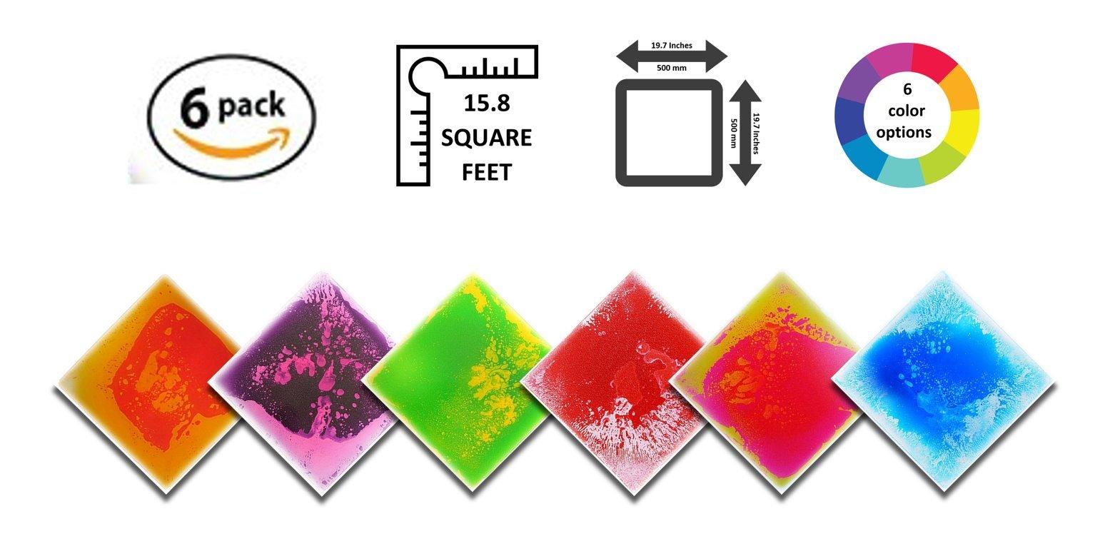 Liquid Floor Tile Playroom / Dance Floor / Sensory Room Tile 6 Pack of 19.7'' x 19.7'' - 7 Color Options - 15.8 sqft (Multicolored)