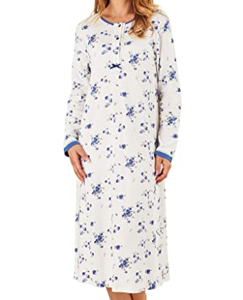 Slenderella Ladies Floral Nightdress Long Sleeved Jersey Cotton Lace Trim  Nightie UK 20 22 ( a4db15ac0