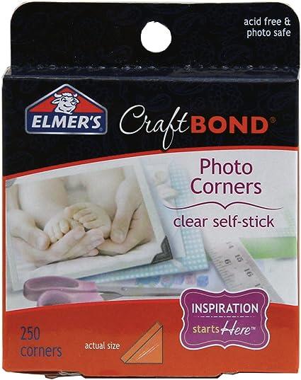 Elmer/'s E4024 CraftBond Photo Corners Clear 250 Corners per Pack Self-Stick