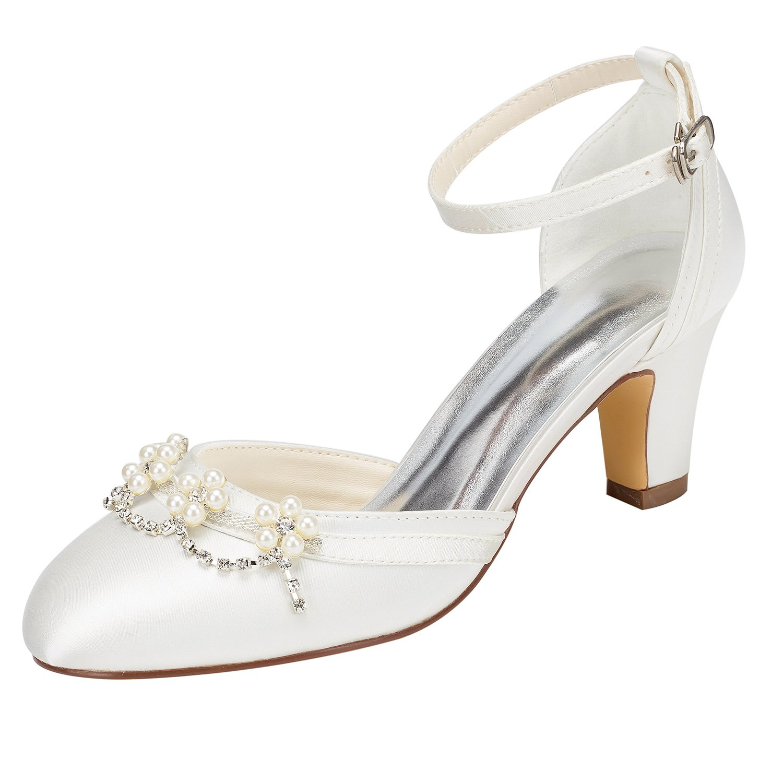 Emily Bridal Zapatos de Novia de Marfil Tacón Grueso Tobillo con Punta Redonda Correa de Tobillo Zapatos de Boda de Cristal de Perla 36 EU|Beige