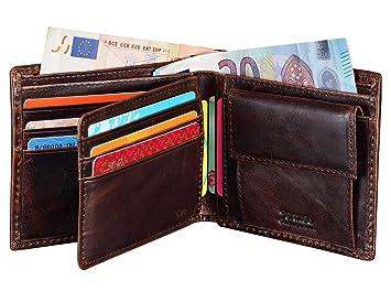 0832aa99a1b7c Herren Geldbörse Jenuos RFID Portemonnaie Querformat Geldbeutel Brieftasche  Leder-Geldbörse für Männer