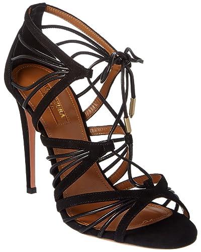 5c064a483f5c Aquazzura Women s Black Suede Leather High Heel Sandals Shoes - Size  ...