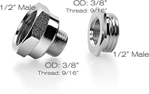 """Frizzlife Brass NPT Thread Pipe Fitting Converter - 1/2 to 3/8 inch Comp Water Supply Angle Stop Valve Adapter for Reverse Osmosis Water Filters(3/8"""" Male to 1/2"""" Female and 1/2"""" Male to 3/8"""" Female)"""