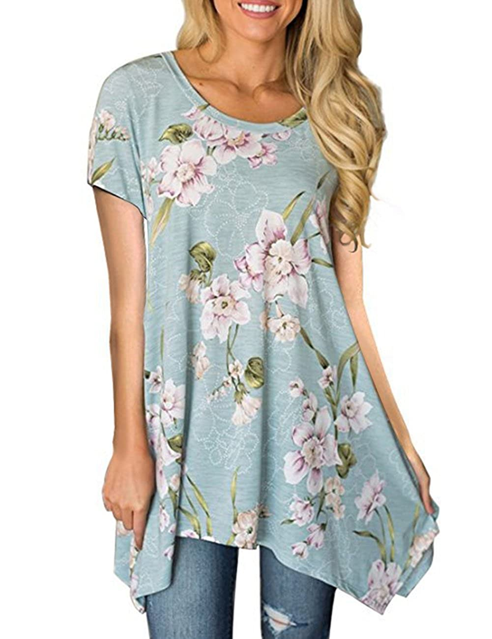 349afd48093 Stretchy material, soft and no see through, very light and airy,  comfortable to wear. Pull On closure. Casual Tunic Tops: Women Summer Floral  Short Sleeve ...
