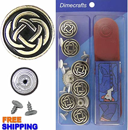 8 Set with Tool Jean Tack Buttons GHQ JBDIYME 17mm Brass Kit