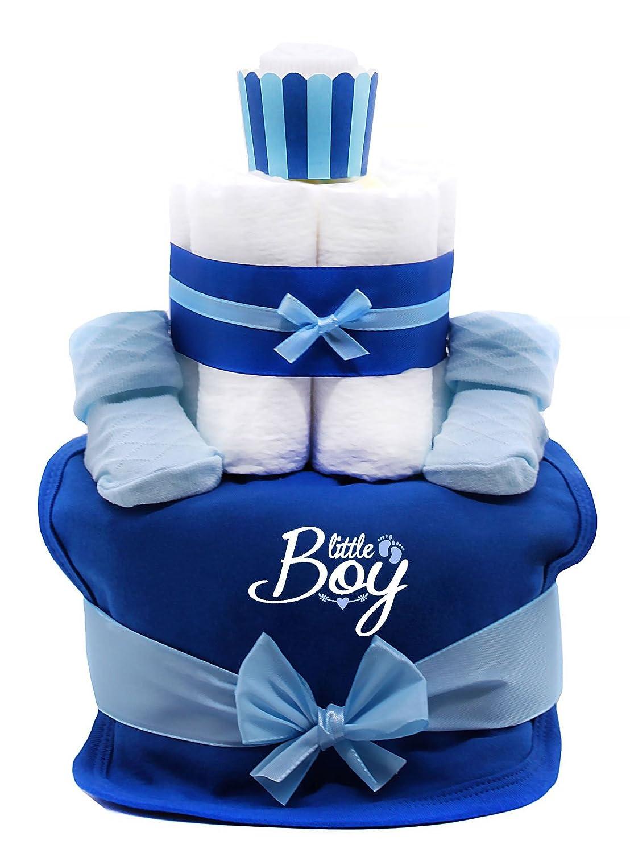 Trend Mama Windeltorte Muffin Junge royalblau Lätzchen Little Boy