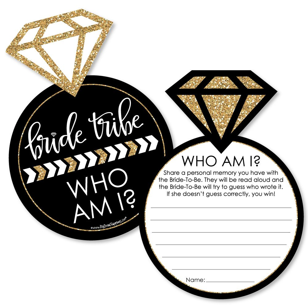 Bride Tribe Bridal Shower or Bachelorette Party Game Who Am I Game Cards Set of 20