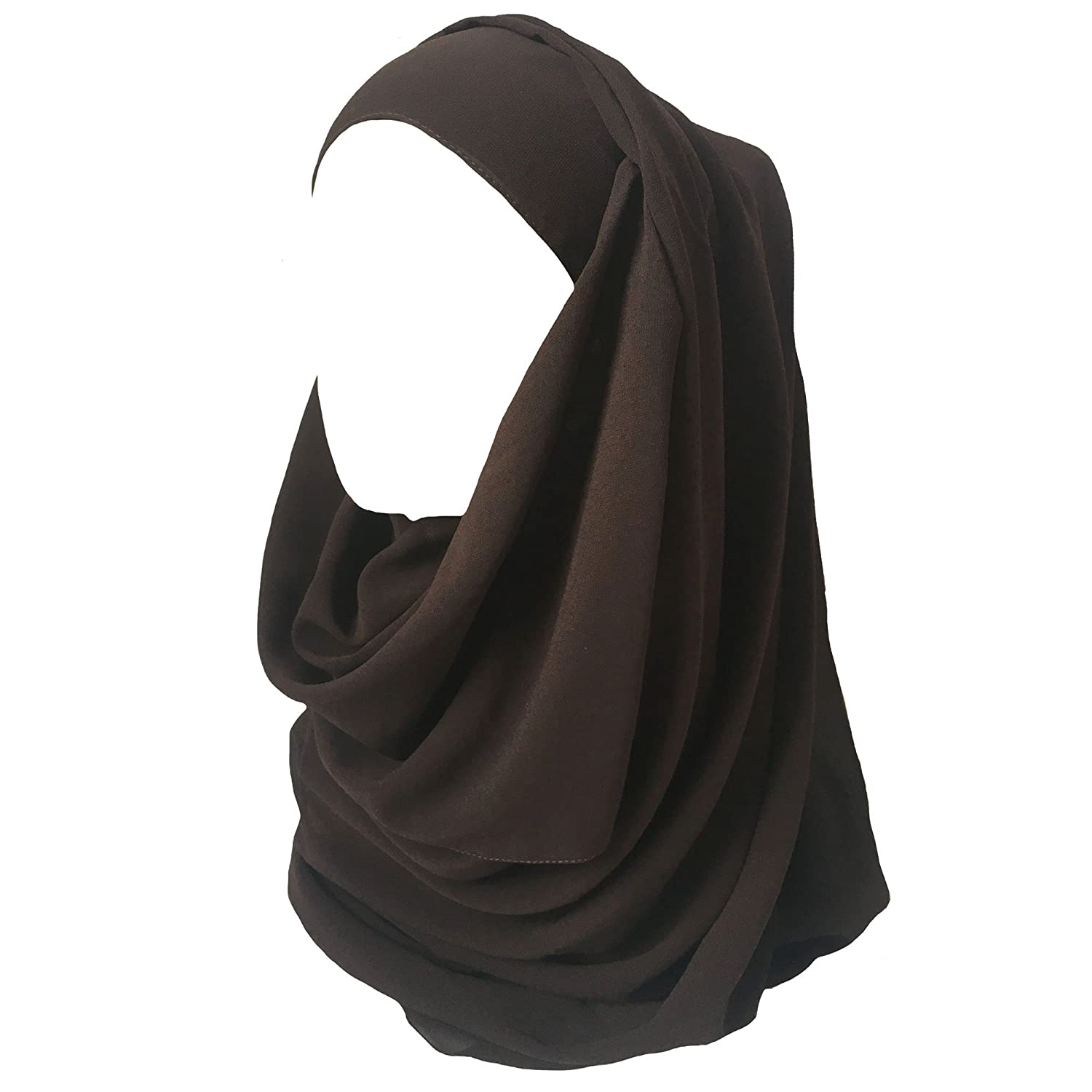 Lina & Lily Solid Color Thick Chiffon Muslim Hijab Long Scarf (Black)